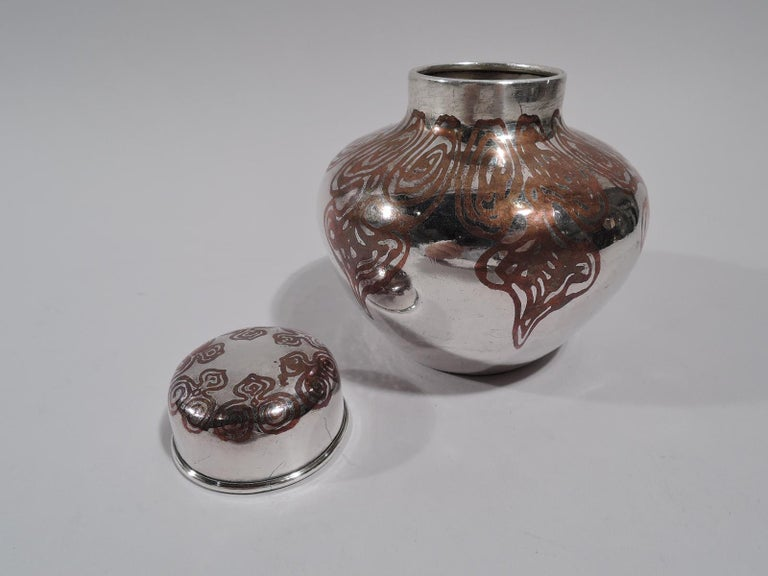 Aesthetic Movement Tiffany Exotic Silver and Copper Mixed Metal Ginger Jar Tea Caddy For Sale