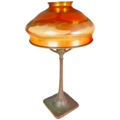 Tiffany Favrile and Bronze Art Nouveau Desk Lamp by, Tiffany Studios