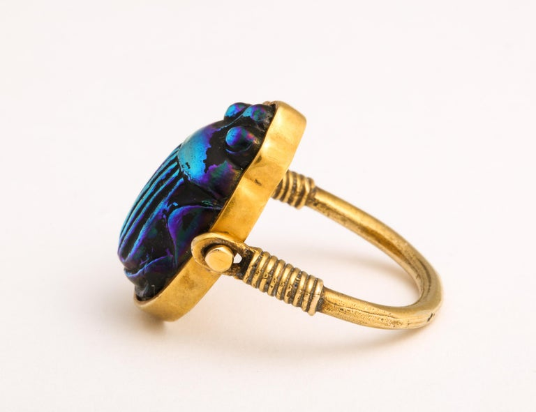 Tiffany & Co. Favrille Scarab in Later Egyptian Style Mounting In Excellent Condition For Sale In New York, NY