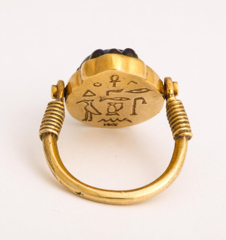 Women's or Men's Tiffany & Co. Favrille Scarab in Later Egyptian Style Mounting For Sale