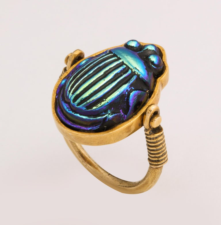 Tiffany & Co. Favrille Scarab in Later Egyptian Style Mounting For Sale 3