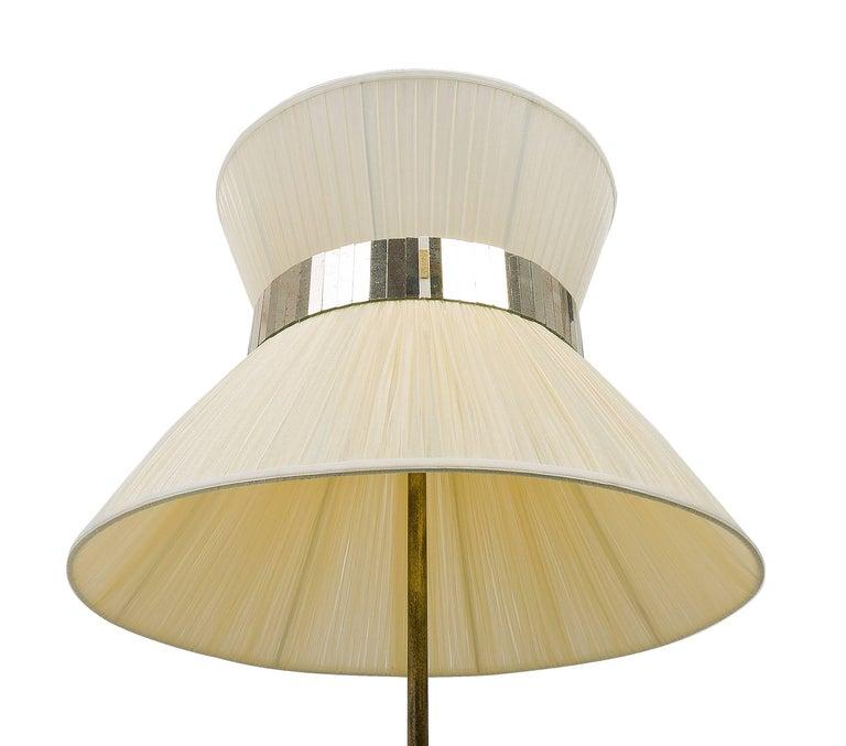 Italian  Tiffany Floor Lamp RUST ivory Silk, Antiqued Brass, Silvered Glass Handmade    For Sale