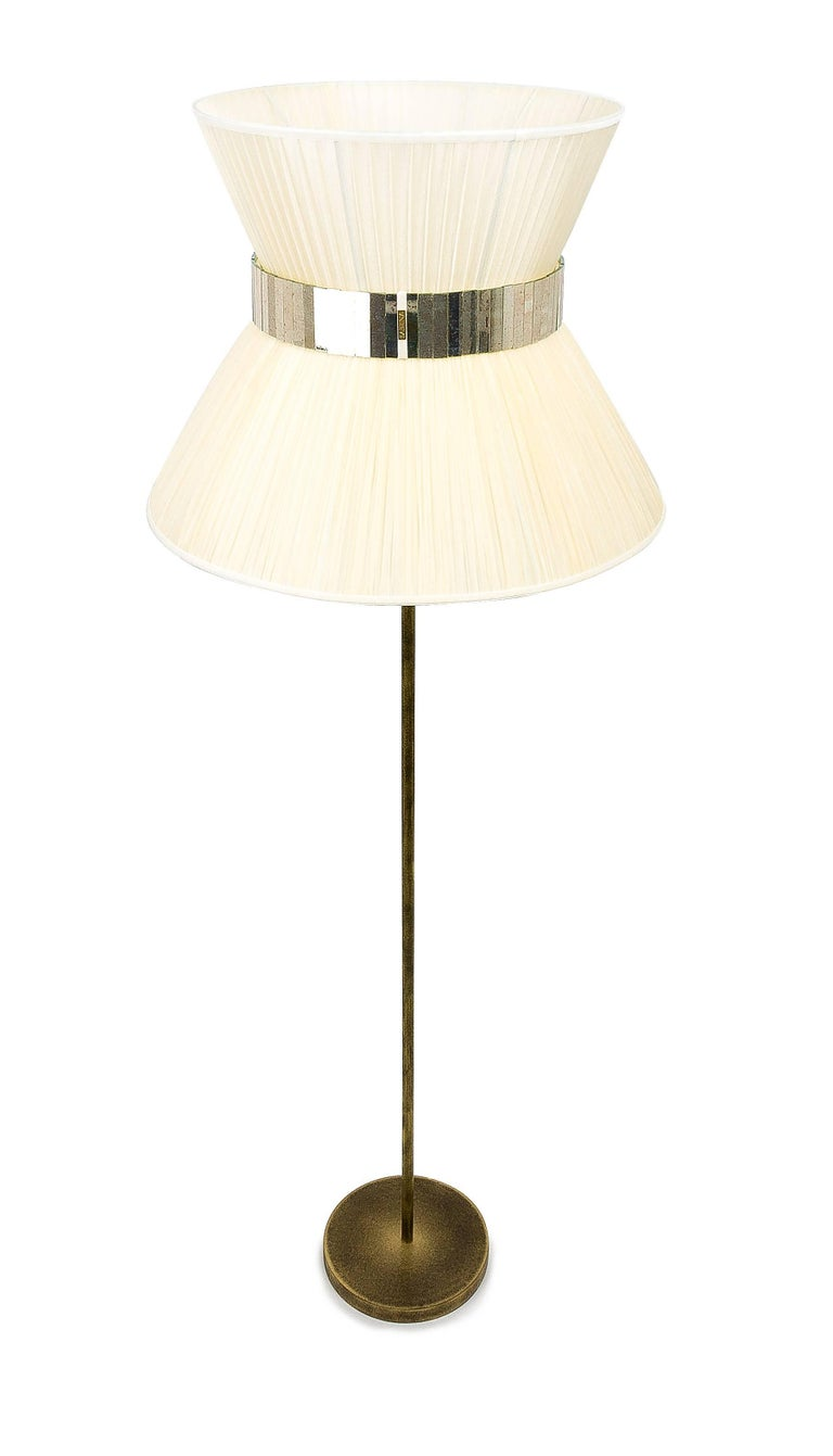 Tiffany Floor Lamp RUST ivory Silk, Antiqued Brass, Silvered Glass Handmade    In New Condition For Sale In Pietrasanta, IT