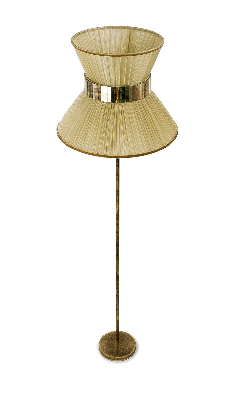 Italian Tiffany contemporary Floor Lamp Gold Silk, Antiqued Brass, Silvered Glass   For Sale