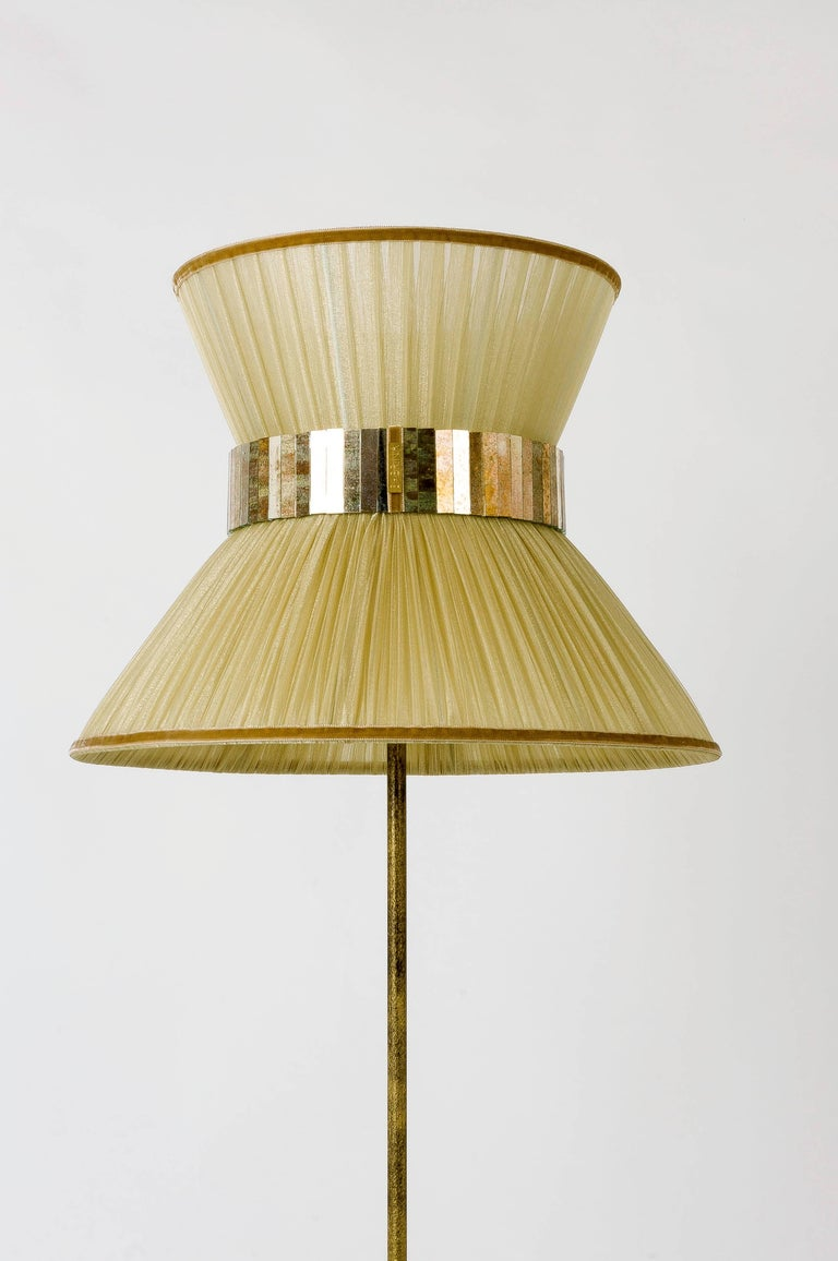 Tiffany contemporary Floor Lamp Gold Silk, Antiqued Brass, Silvered Glass   In New Condition For Sale In Pietrasanta, IT