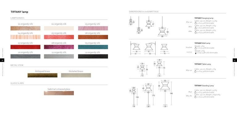 """Tiffany"" Floor Lamp in ivory Silk, Antiqued Brass, Silvered Glass Handmade   1"