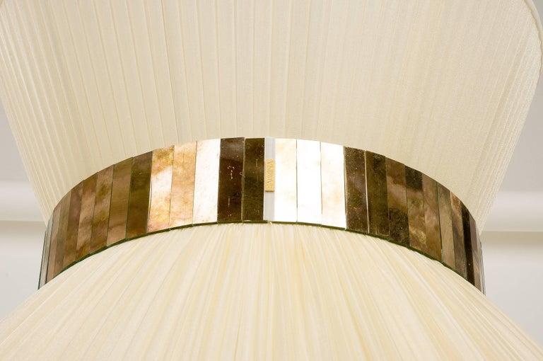 Modern  Tiffany Floor Lamp ivory Silk, Antiqued Brass, Silvered Glass Handmade    For Sale