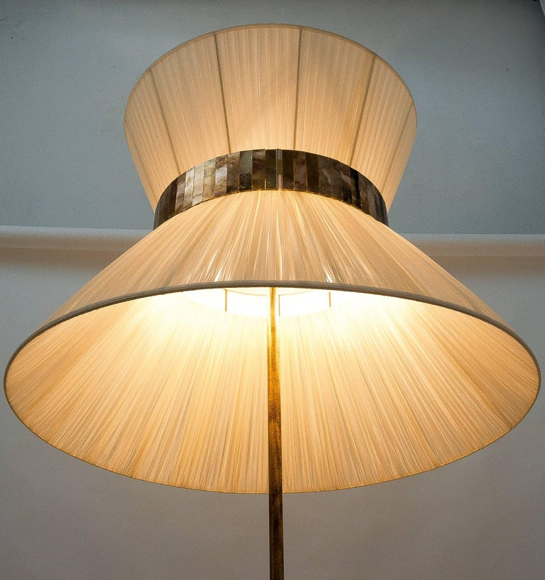 Contemporary  Tiffany Floor Lamp ivory Silk, Antiqued Brass, Silvered Glass Handmade    For Sale