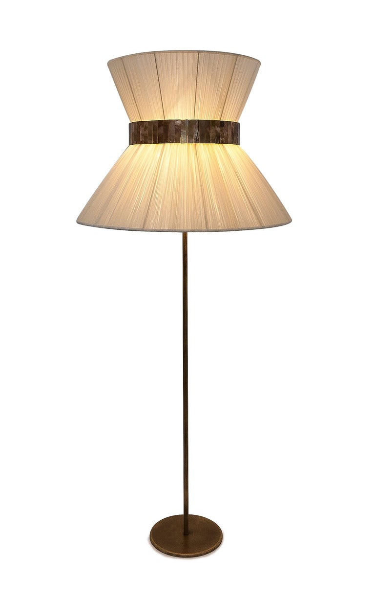 Tiffany Floor Lamp ivory Silk, Antiqued Brass, Silvered Glass Handmade    For Sale 2
