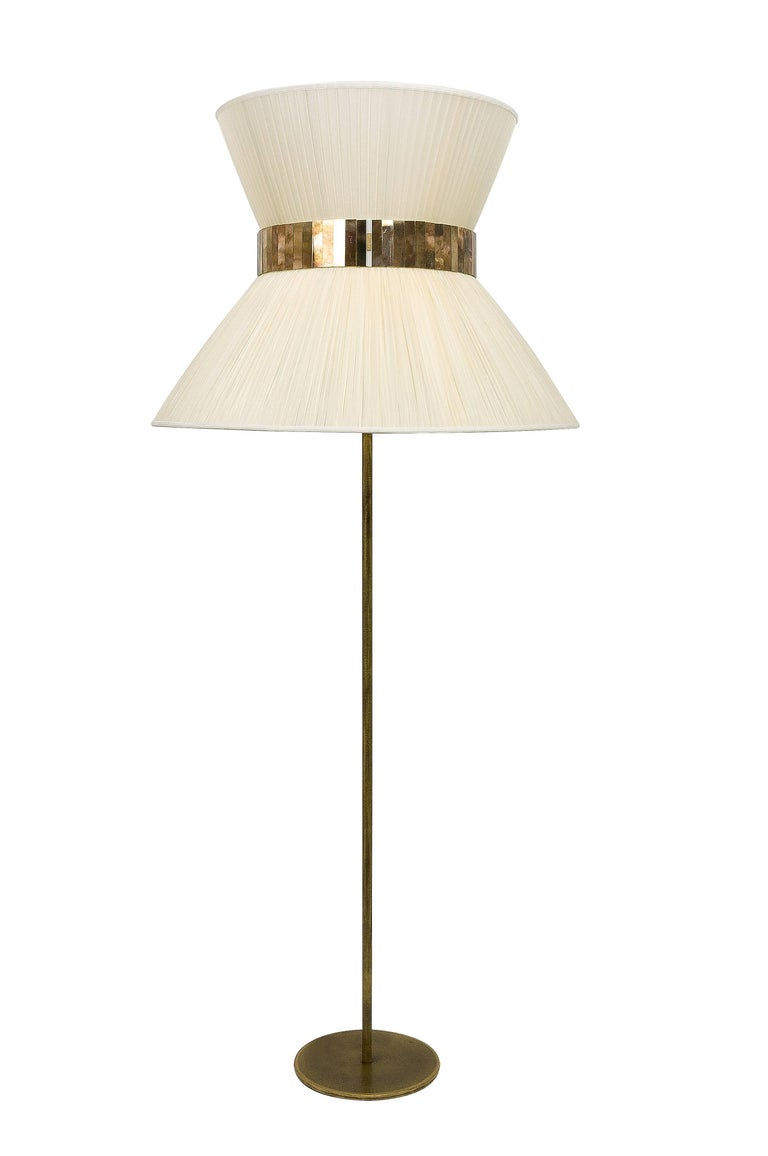 Art Glass  Tiffany Floor Lamp ivory Silk, Antiqued Brass, Silvered Glass Handmade    For Sale