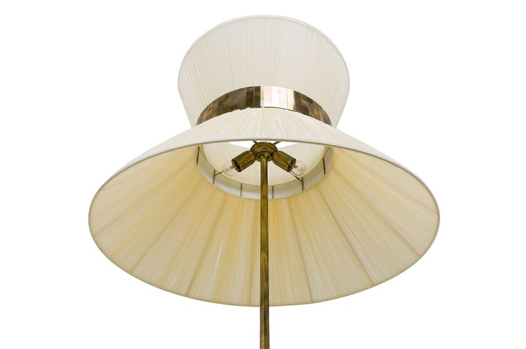 Tiffany Floor Lamp ivory Silk, Antiqued Brass, Silvered Glass Handmade    For Sale 1
