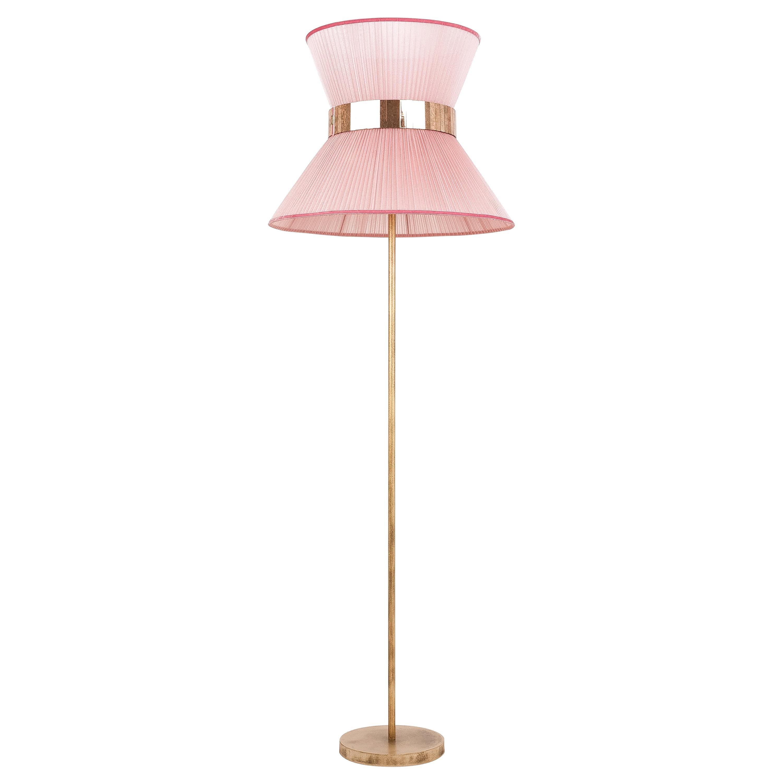 Tiffanycontemporary Floor Lamp 60 Blush Silk, Antiqued Brass, Silvered Glass