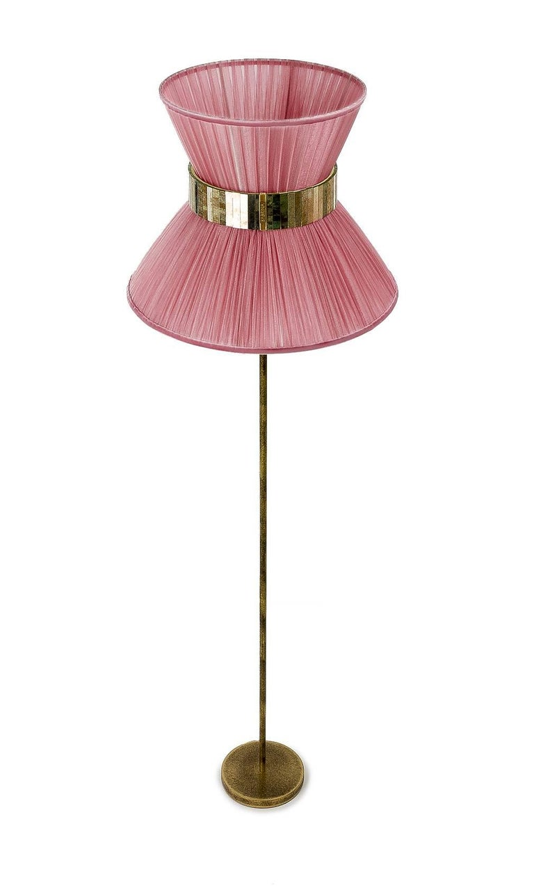 Contemporary Tiffany Floor Lamp Onion Silk, Antiqued Brass, Silvered Glass Handmade For Sale