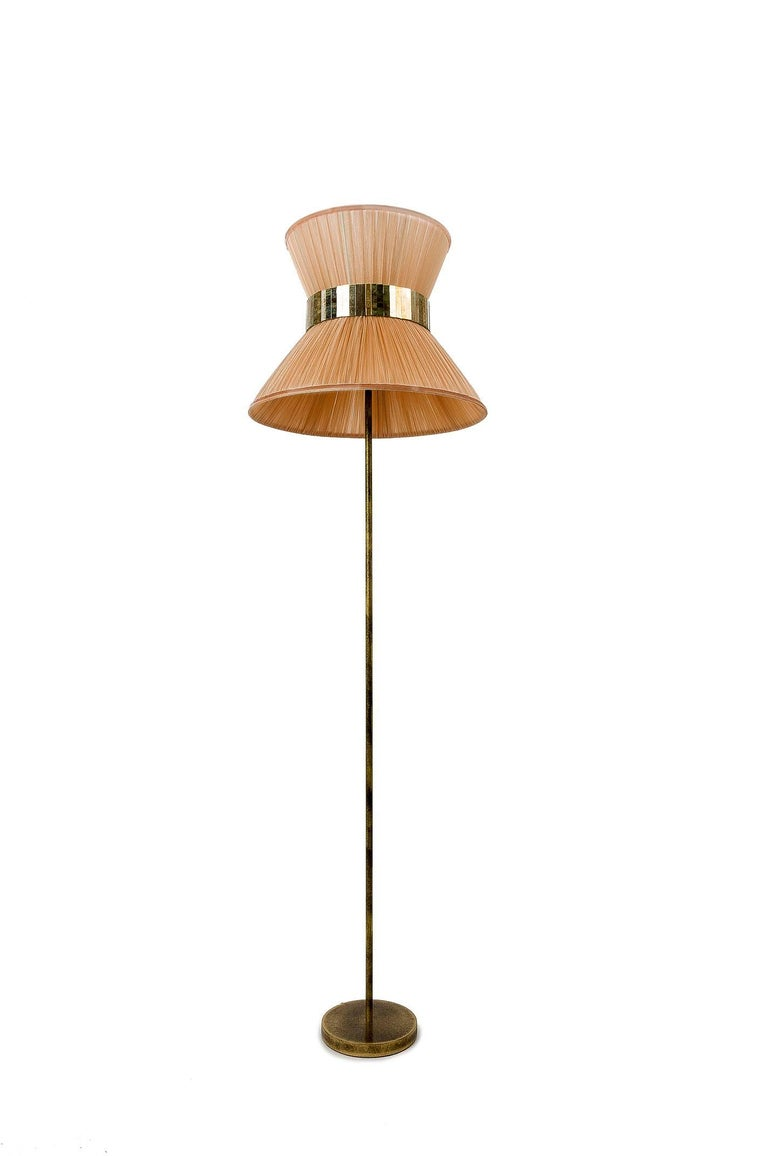 Italian Tiffany Floor Lamp Powder Silk, Antiqued Brass, Silvered Glass Handmade For Sale