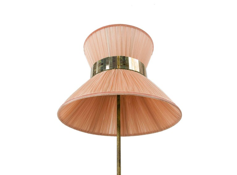 Tiffany Floor Lamp Powder Silk, Antiqued Brass, Silvered Glass Handmade In New Condition For Sale In Pietrasanta, IT