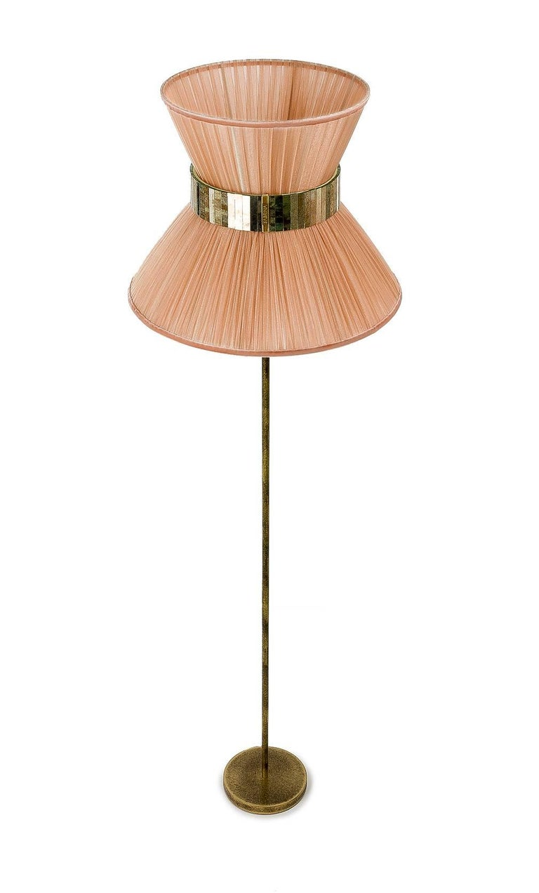 Contemporary Tiffany Floor Lamp Powder Silk, Antiqued Brass, Silvered Glass Handmade For Sale