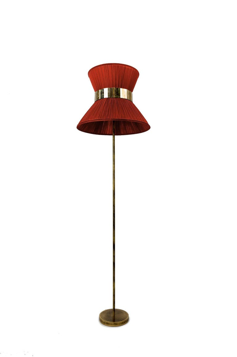 Italian Tiffany Floor Lamp Rust Silk, Antiqued Brass, Silvered Glass Handmade For Sale
