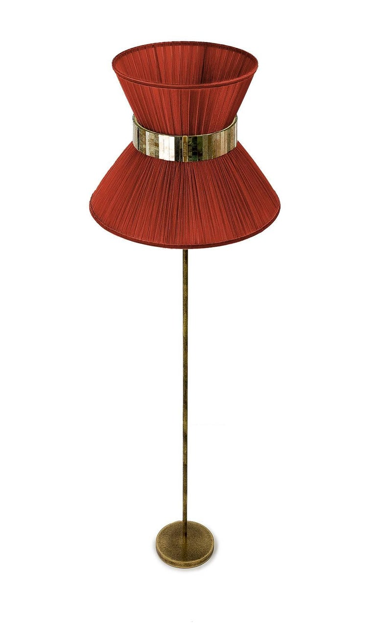 Contemporary Tiffany Floor Lamp Rust Silk, Antiqued Brass, Silvered Glass Handmade For Sale