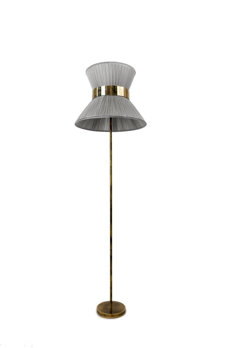 Italian Tiffany Floor Lamp Silver Silk, Antiqued Brass, Silvered Glass Handmade For Sale