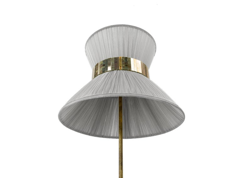 Tiffany Floor Lamp Silver Silk, Antiqued Brass, Silvered Glass Handmade In New Condition For Sale In Pietrasanta, IT