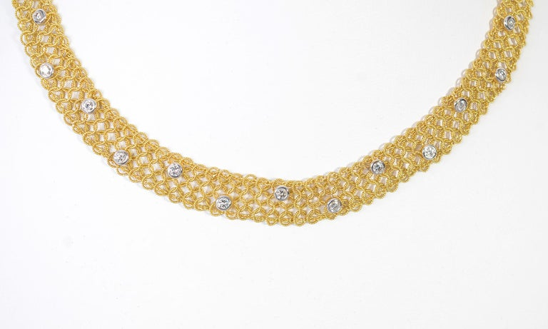 Modern Tiffany & Co. Gold and Diamond Necklace For Sale