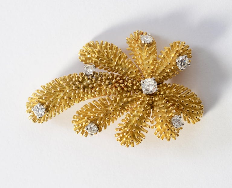 Modern Tiffany & Co. Gold and Diamond Palm Tree Brooch For Sale