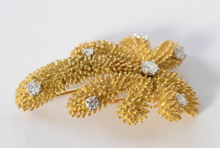 Round Cut Tiffany & Co. Gold and Diamond Palm Tree Brooch For Sale