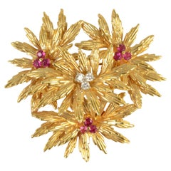 Tiffany Gold Floral Brooch with Rubies and Diamonds