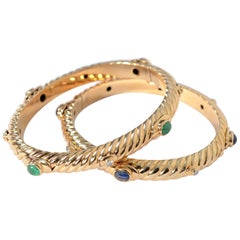 Tiffany Gold Fluted Bangle Bracelets with Sapphires, Emeralds and Diamond, Pair