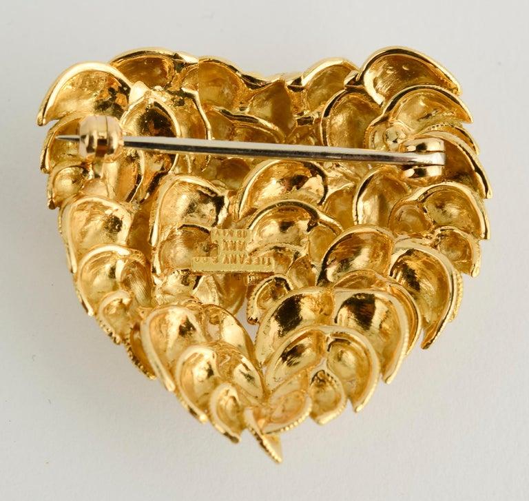 Modern Tiffany Gold Heart Brooch For Sale