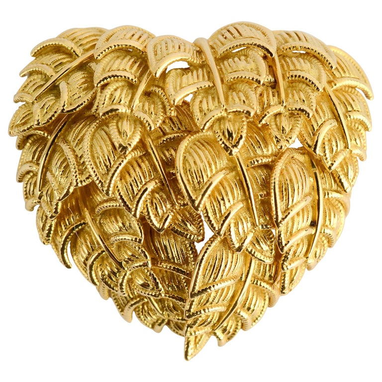 Tiffany Gold Heart Brooch For Sale