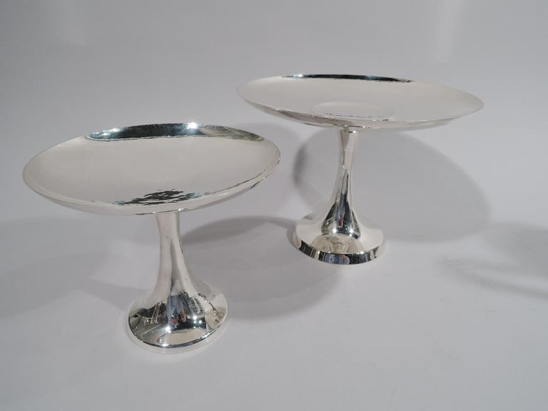 Mid-Century Modern Tiffany Hand-Hammered Modern Double Compotes Cake Stand