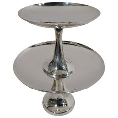 Tiffany Hand-Hammered Modern Double Compotes Cake Stand