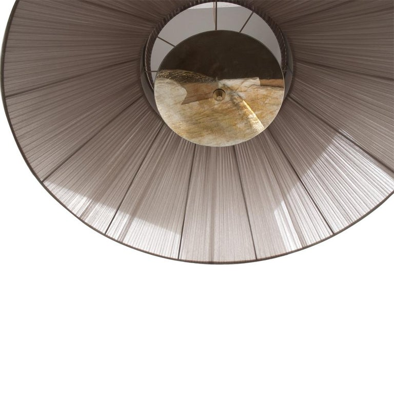 """Modern """"Tiffany"""" contemporary Hanging Lamp 80 silver Silk Silvered Glass , brass  For Sale"""