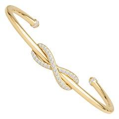 Tiffany Infinity Cuff, 0.39ctw Round Diamond 'D-F, VS-VVS' in 18kt Yellow Gold