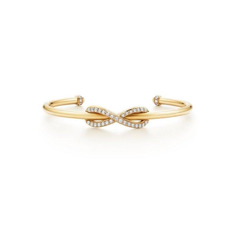 Round Cut Tiffany & Co. Infinity Yellow Gold Diamond Cuff Medium Size For Sale