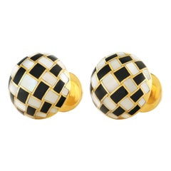 Tiffany Intarsio Stone Inlaid Gold Cufflinks