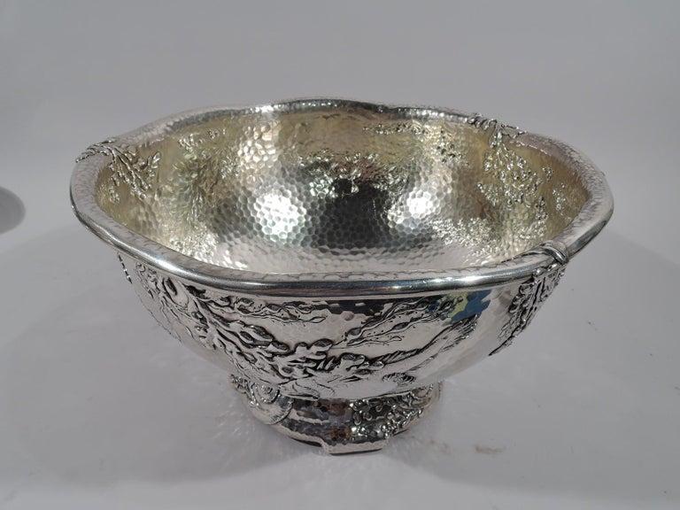 Appliqué Tiffany Japonesque Applied Sterling Silver Fishbowl Centerpiece For Sale