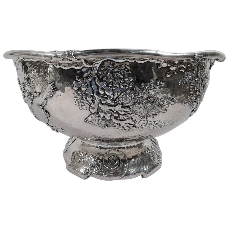 Tiffany Japonesque Applied Sterling Silver Fishbowl Centerpiece For Sale