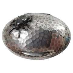 Tiffany Japonesque Hand-Hammered Pillbox with Applied Beetle Bug