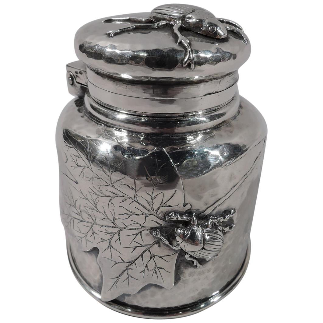 Tiffany Japonesque Leaf and Bug Applied Sterling Silver Inkwell
