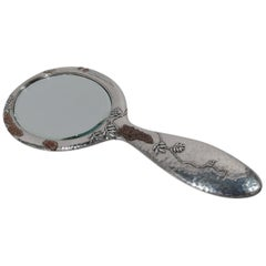 Tiffany & Co. Japonesque Mixed Metal Hand Mirror with Beetle and Butterfly