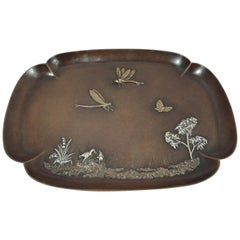Tiffany Japonesque Mixed Metal on Copper Dragonfly Tray