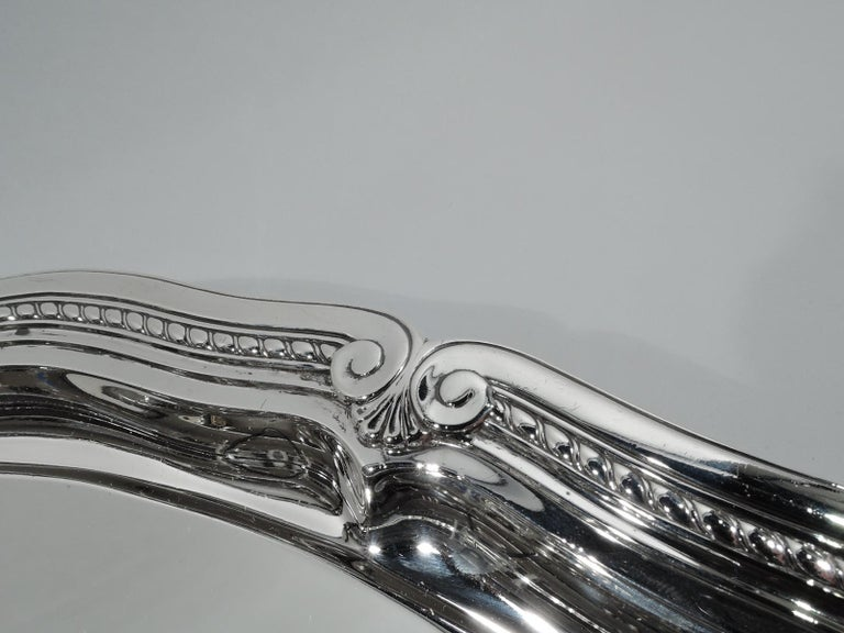 American Tiffany Large & Heavy Edwardian Classical Sterling Silver Footed Tray For Sale