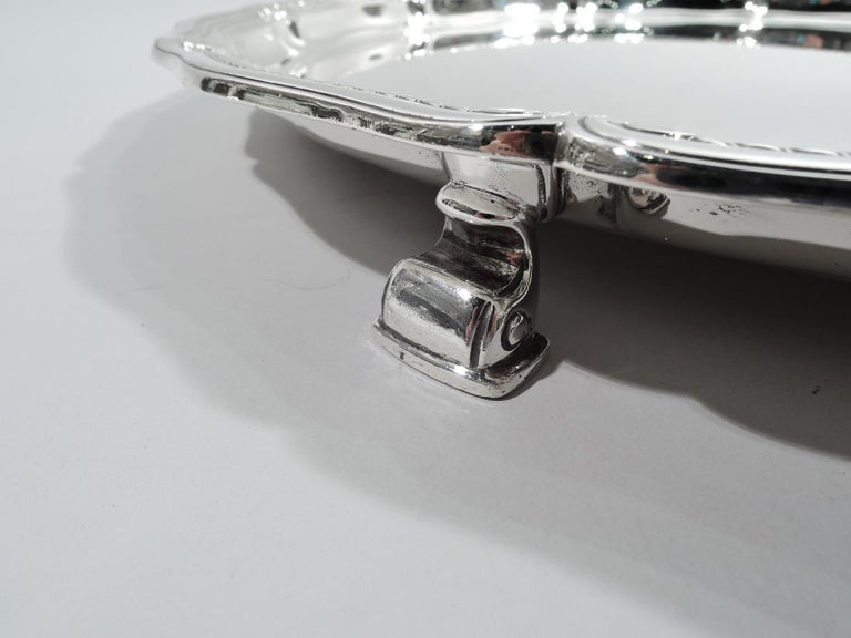 20th Century Tiffany Large & Heavy Edwardian Classical Sterling Silver Footed Tray For Sale