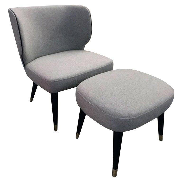 Tiffany Lounge Chairs and Ottoman For Sale