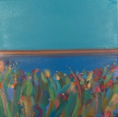 Tiffany Lynch, Pink Stripe Blue Sky I, Contemporary Abstract Art, Affordable Art