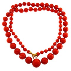 Tiffany Mediterranean Coral Gold Bead Necklace