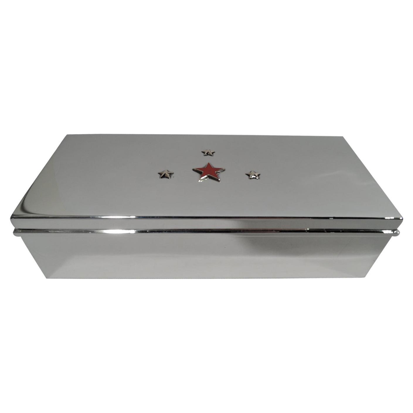 Tiffany Mid-Century Modern Sterling Silver Box with Enamel & Gilt Stars