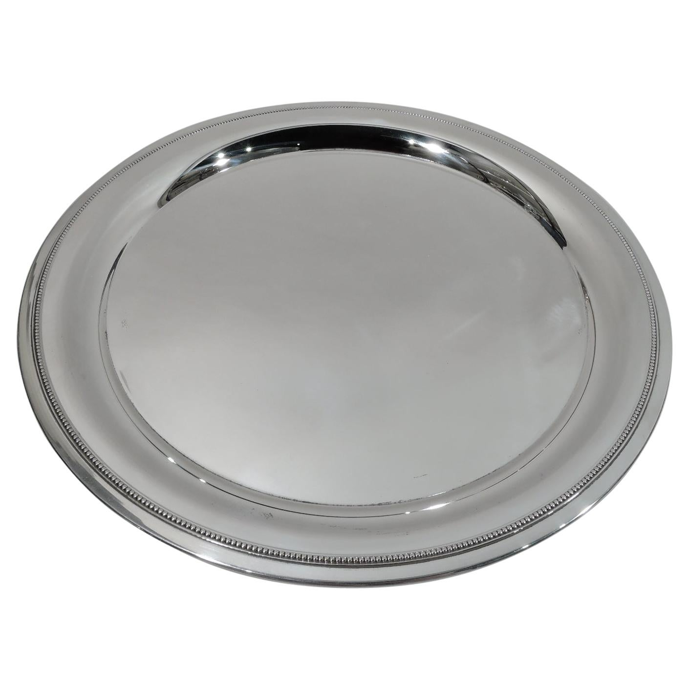 Tiffany Mid-Century Modern Classical Sterling Silver Beaded Tray